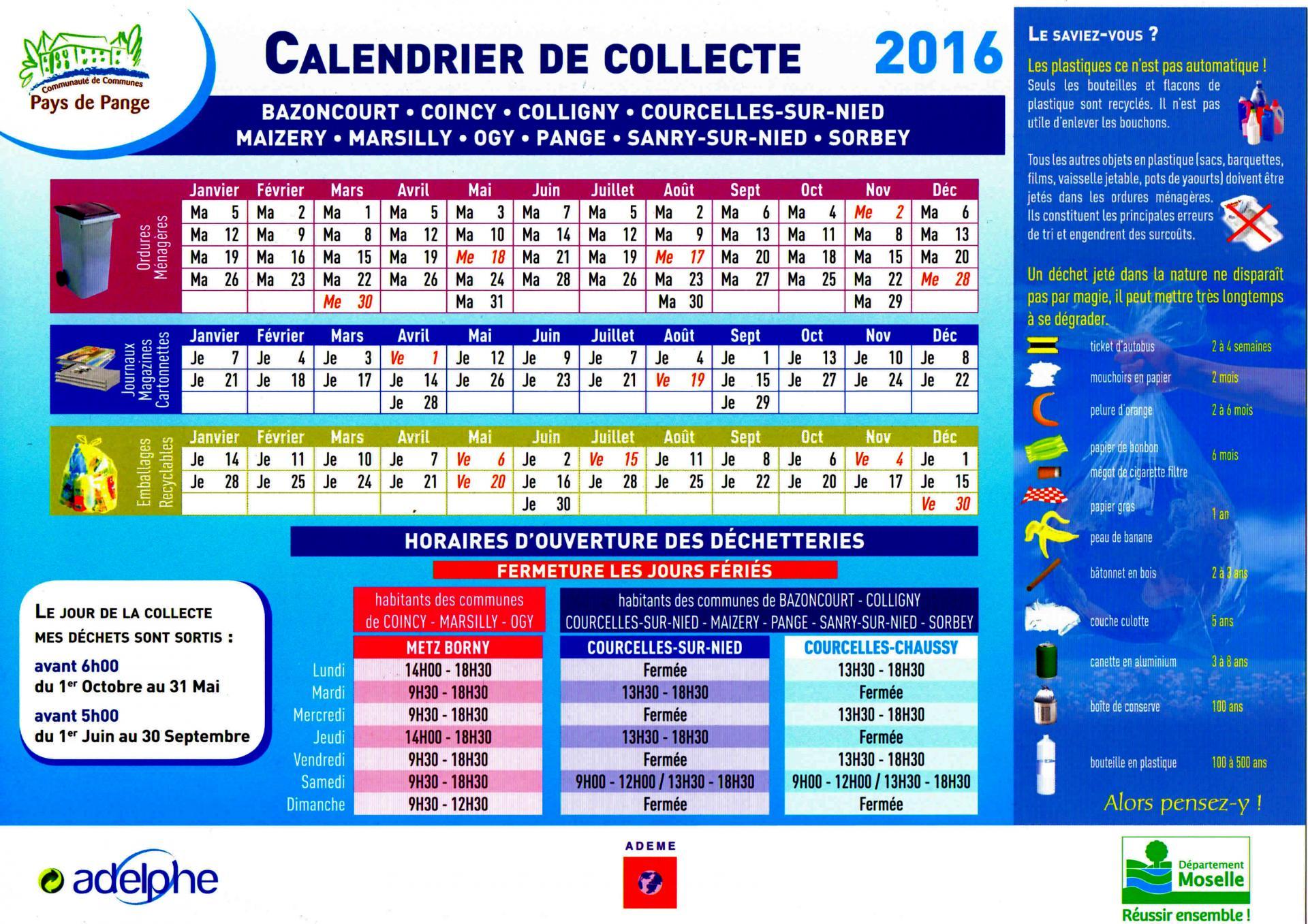 Calendrier 2016 pour le ramassage des ordures ménagères